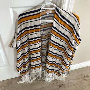 2/15$ Striped Blue, White and Yellow Shawl